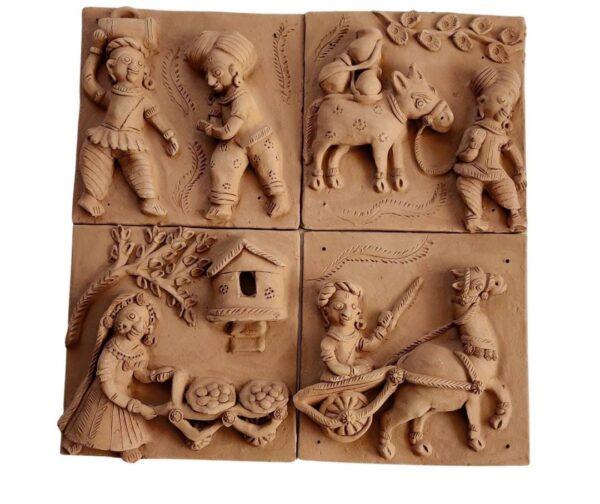 Village Life Terracotta Plaques