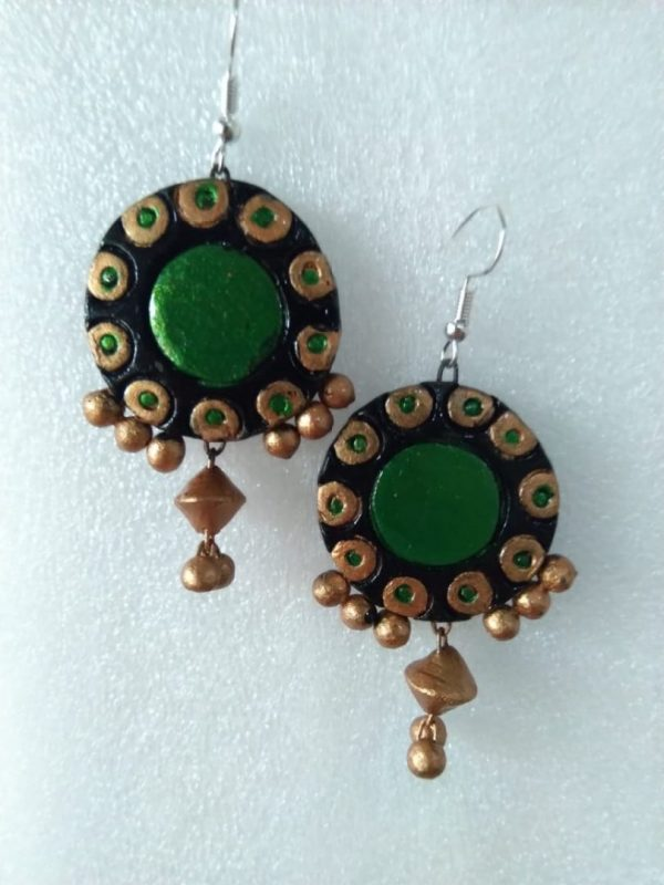 Chandbali With Attractive Green And Hanging Beads  