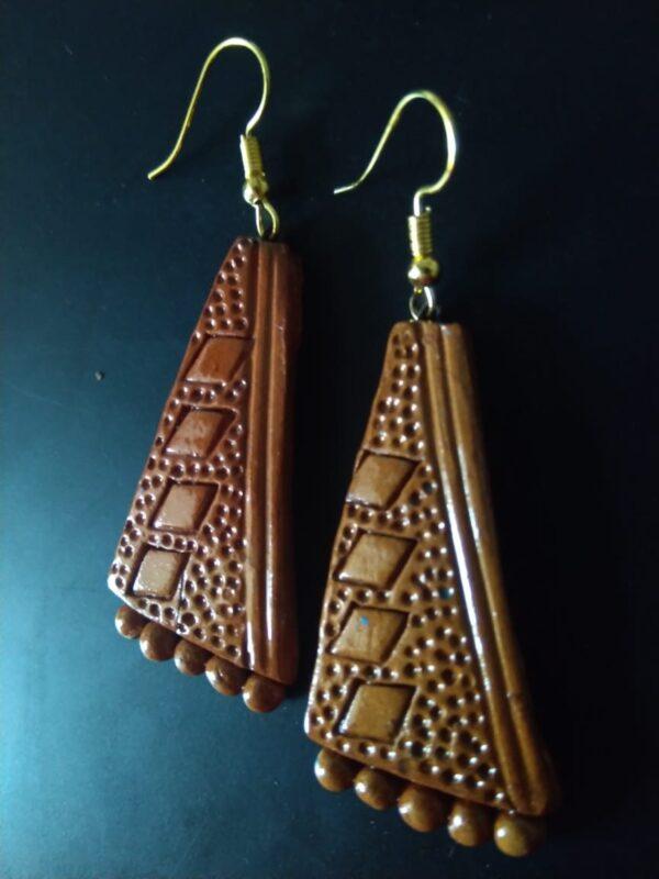 Terracotta Triangle Drop Earrings |