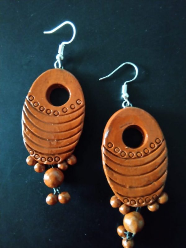 Terracotta Drop Earring With Hanging Beads |