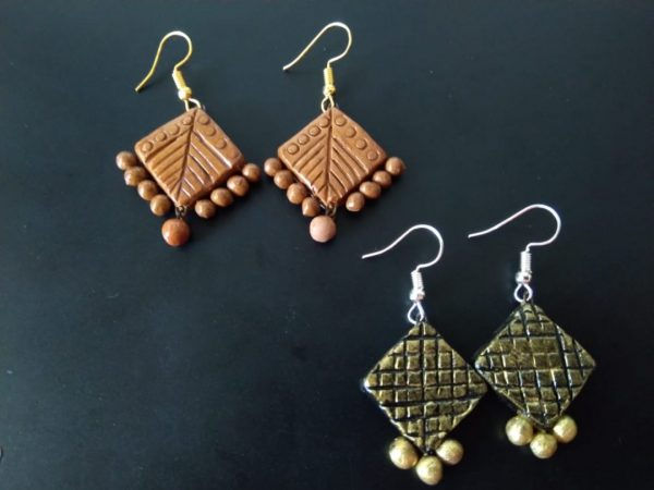 Crafted Pan Leaf And Cubic Styled Earrings Set of 2  