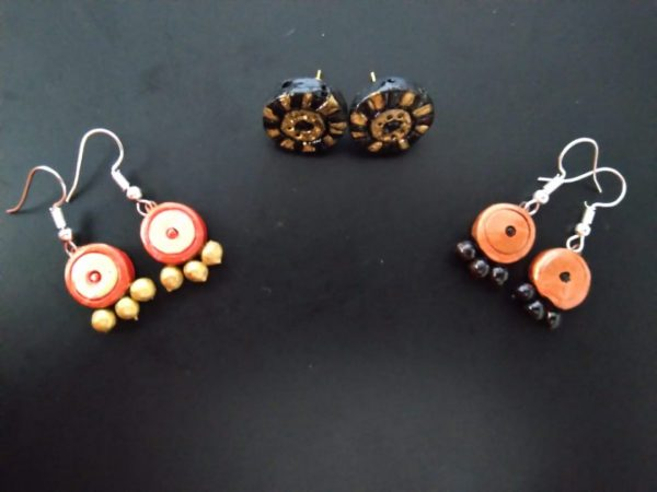 Rolled Quill Shaped Earring Set of 2 With Stud  