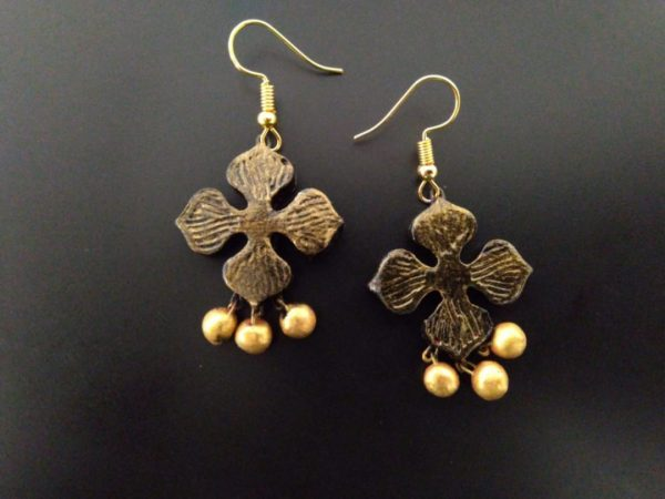 Golden Coloured Four Petal Terracotta Earring |