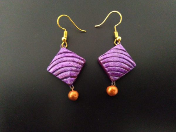 Lavender Colored Terracotta Earring With Copper Beads |