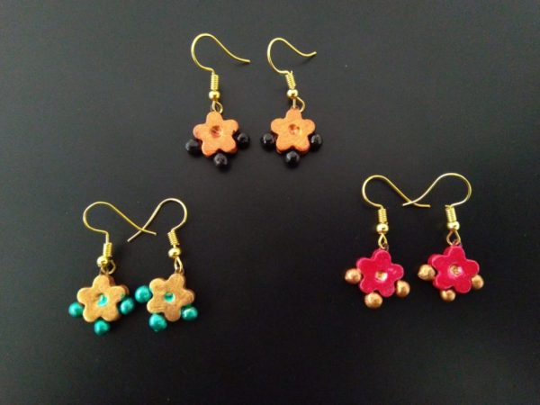 Bejeweled Floral Styled Earrings Set of 3 |