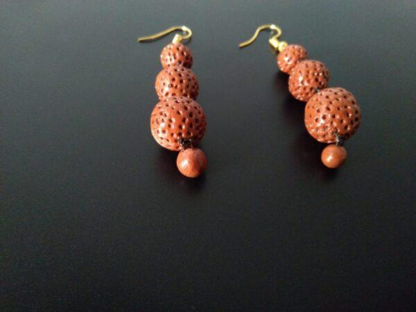 Rustic Bead Hanging Earrings  