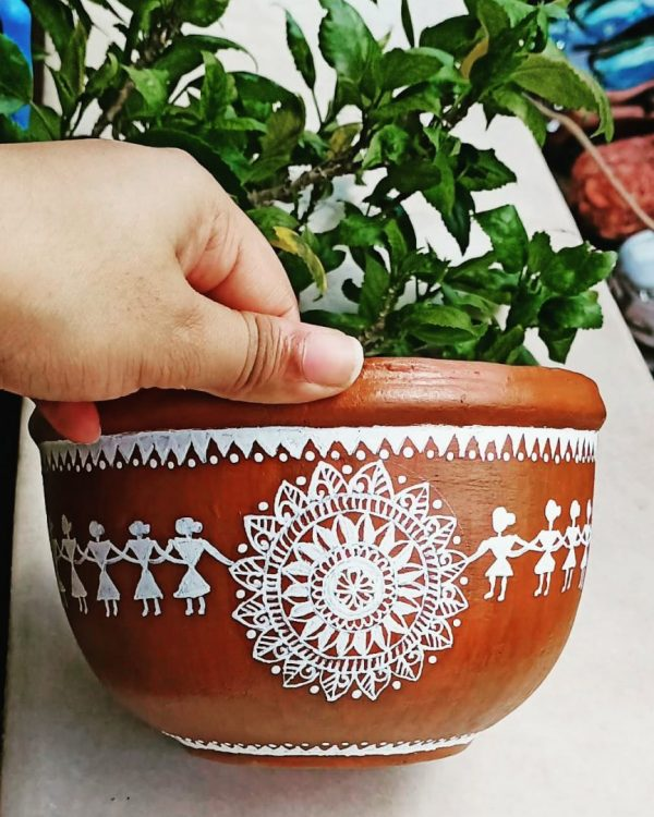 Hand painted Pot For Indoor Plant Decor |
