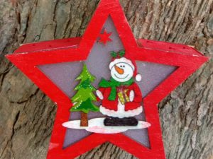 Wooden Merry Christmas Light Star