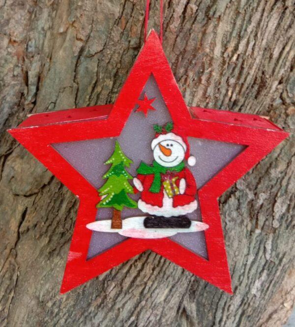 Wooden Merry Christmas Light Star