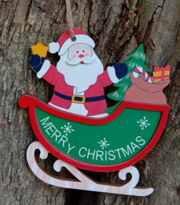 Christmas Wooden 3D Santa Hanging
