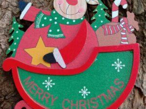 3D Christmas Wooden Santa Hanging
