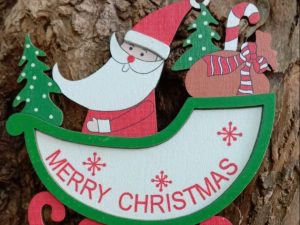 Wooden 3D Christmas Santa Hanging