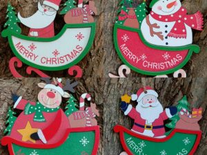 Wooden 3D Christmas Santa Hanging Set of 4