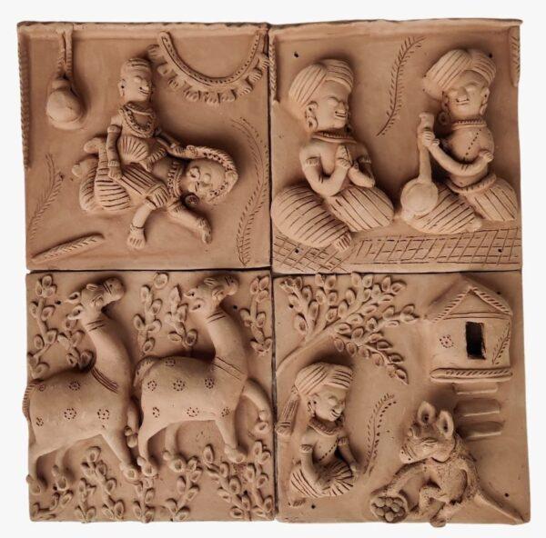 Village Leela Terracotta Plaques (Set of 4)