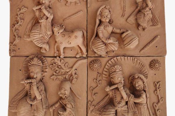 Radha Krishna Leela Terracotta Plaques