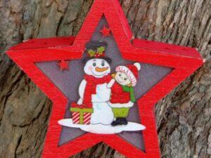 Wooden Merry Christmas Santa Light Star