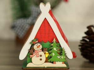 Merry Christmas Snow Man with House