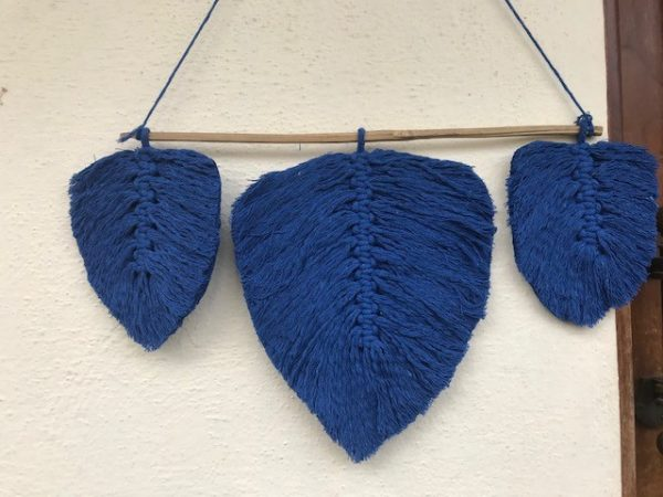 Macrame Blue Feathers   Macrame Blue Feathers  