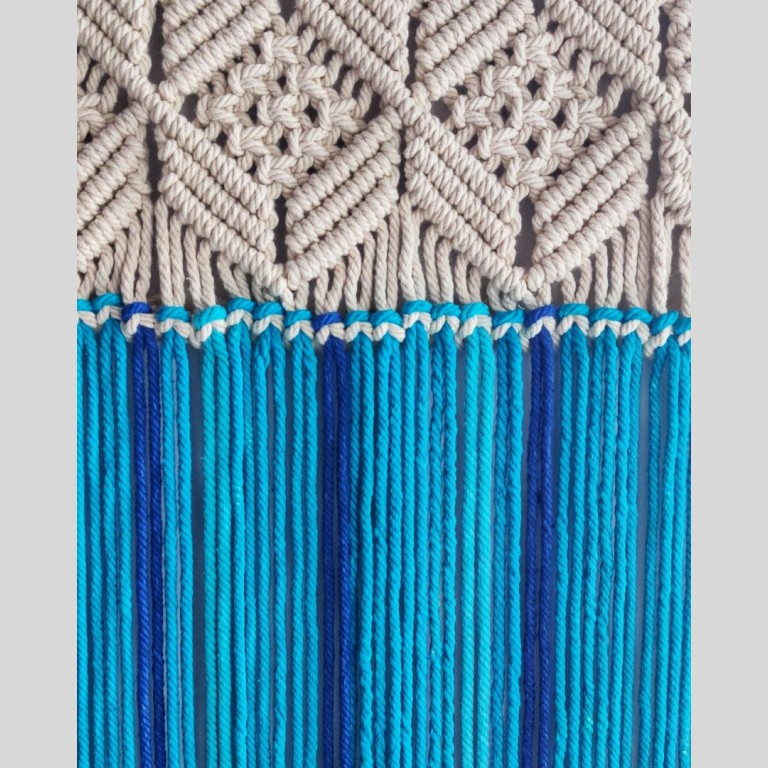 Blue With White Handmade Macrame Hanging |