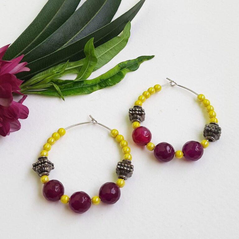 Yellow Beads Hoops Earrings   Yellow Beads Hoops Earrings  