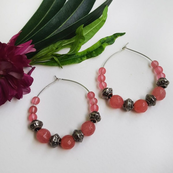Pink Hoops Earrings   Pink Hoops Earrings  
