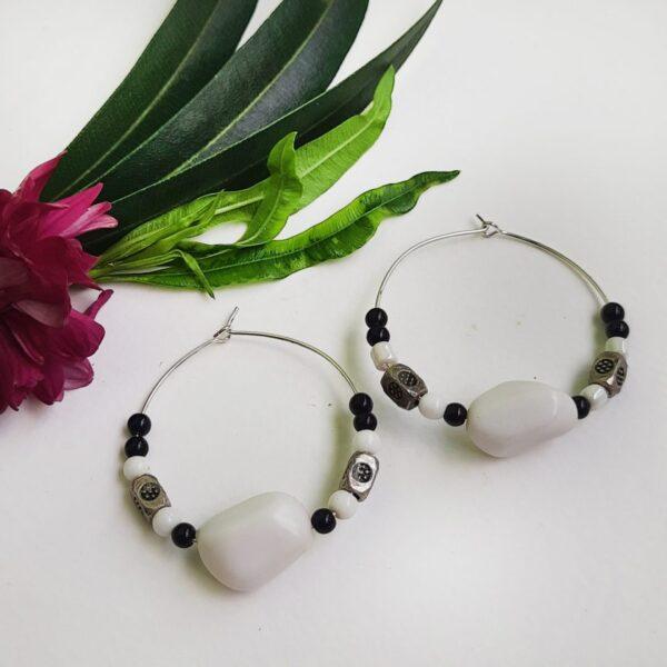 White and Black Hoops Earrings | White and Black Hoops Earrings |
