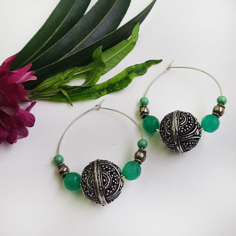 Green Hoops Earrings | Green Hoops Earrings |