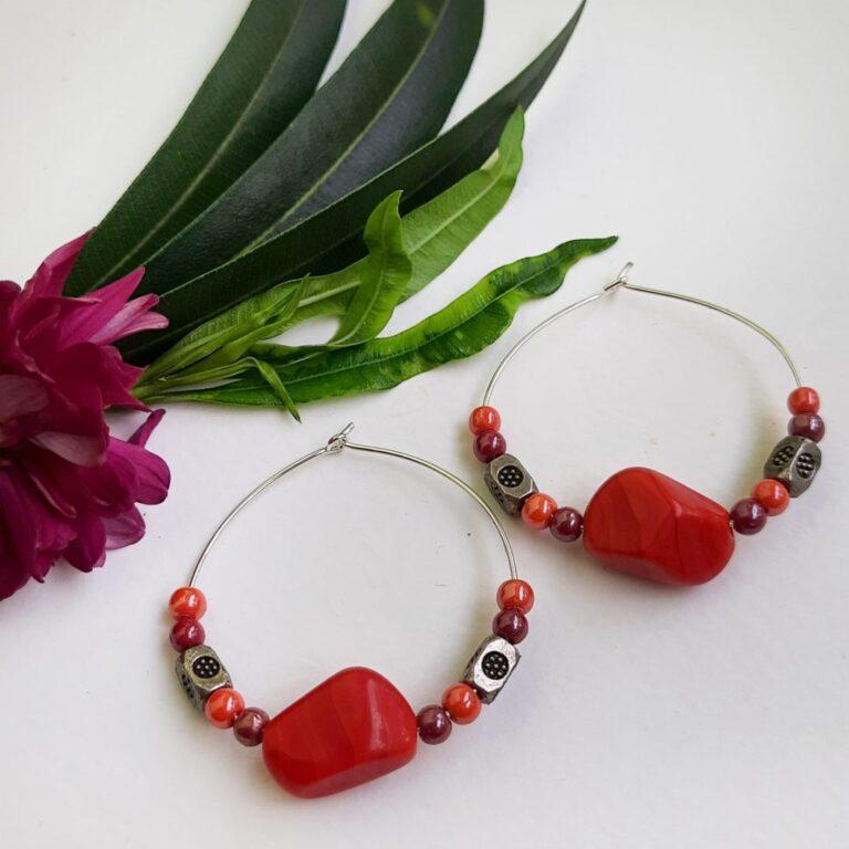 Red Hoops Earrings   Red Hoops Earrings  