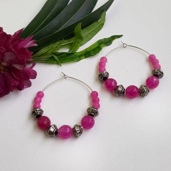 Pink With Silver Hoops Earrings | Pink With Silver Hoops Earrings |