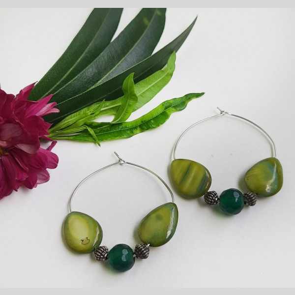 Light Green Hoops Earrings | Light Green Hoops Earrings |