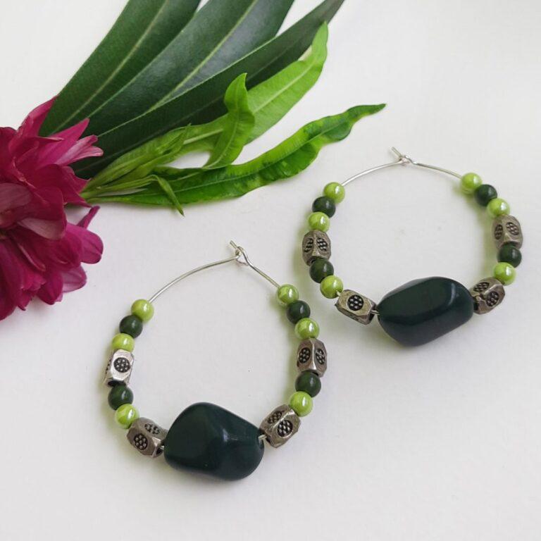 Dark Green Hoops Earrings | Dark Green Hoops Earrings |