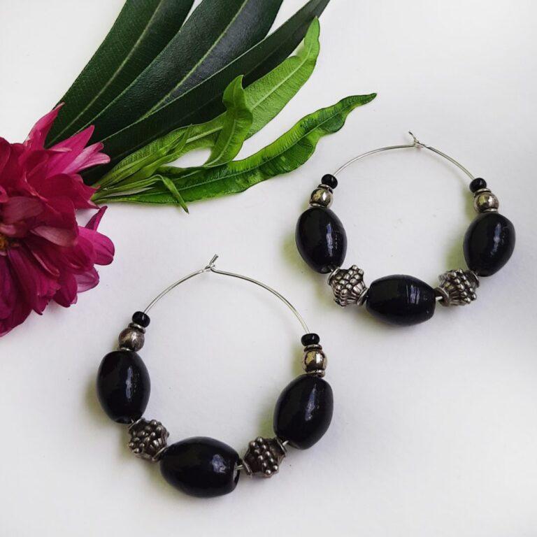 Black Hoops Earrings | Black Hoops Earrings |