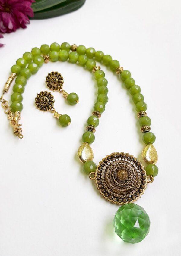Green Golden Ethnic Antique Neckset | Green Golden Ethnic Antique Neckset |