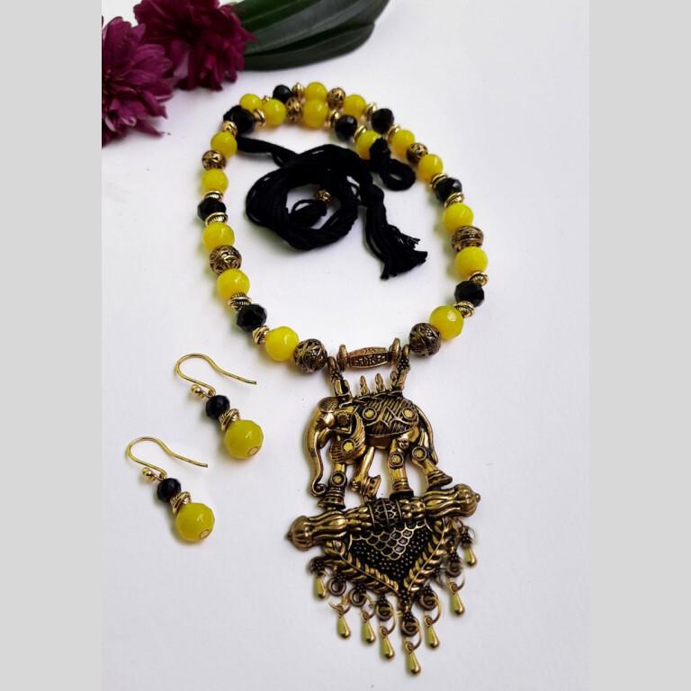 Yellow With Black Ethnic Antique Neckset | Yellow With Black Ethnic Antique Neckset |
