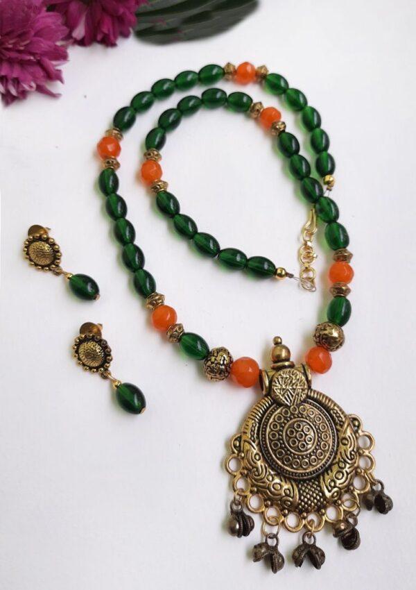 Orange With Green Ethnic Antique Neckset   Orange With Green Ethnic Antique Neckset  