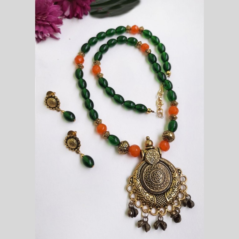 Orange With Green Ethnic Antique Neckset | Orange With Green Ethnic Antique Neckset |