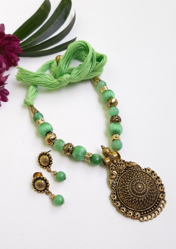 Green With Golden Ethnic Antique Neckset   Green With Golden Ethnic Antique Neckset  