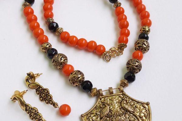 Orange Ethnic Antique Neckset   Orange Ethnic Antique Neckset  