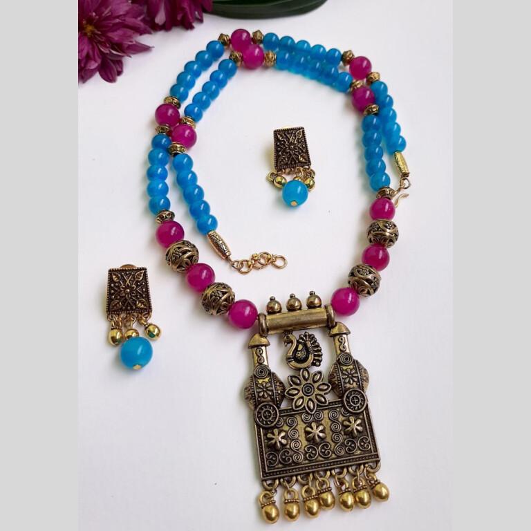 Pink With Blue Ethnic Antique Neckset | Pink With Blue Ethnic Antique Neckset |