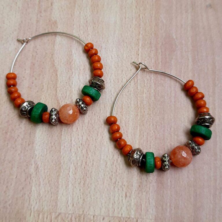 Orange Green Hoops Earrings   Orange Green Hoops Earrings  