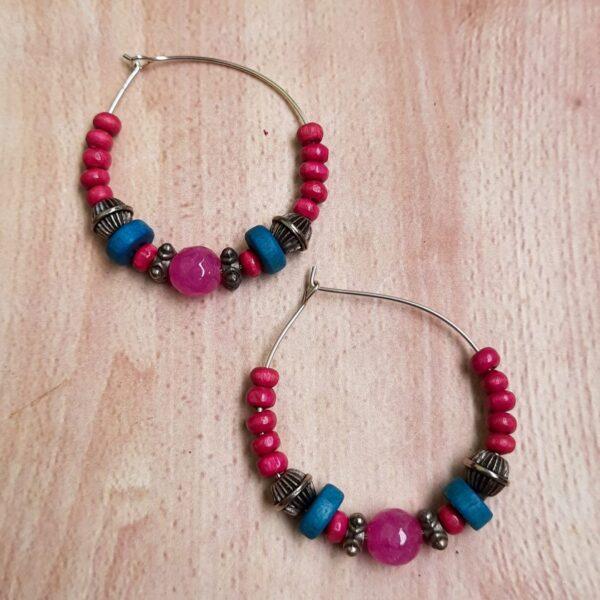 Red And Blue Hoops Earrings | Pink And Blue Hoops Earrings |