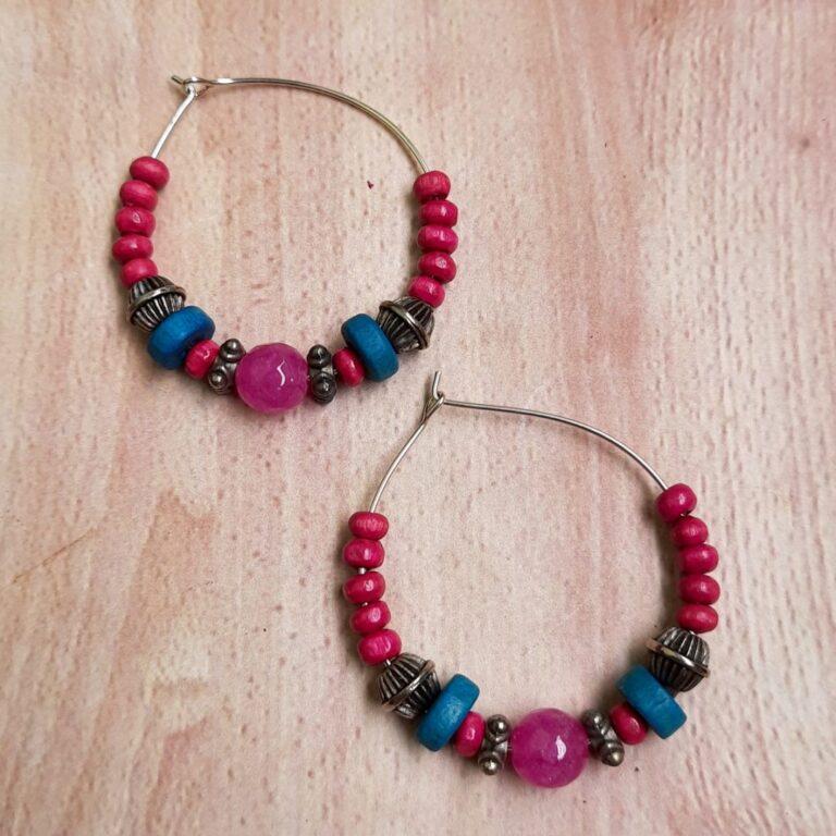 Red And Blue Hoops Earrings   Pink And Blue Hoops Earrings  