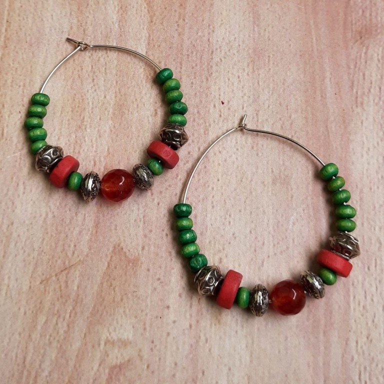 Green With Red Hoops Earrings   Green With Red Hoops Earrings  