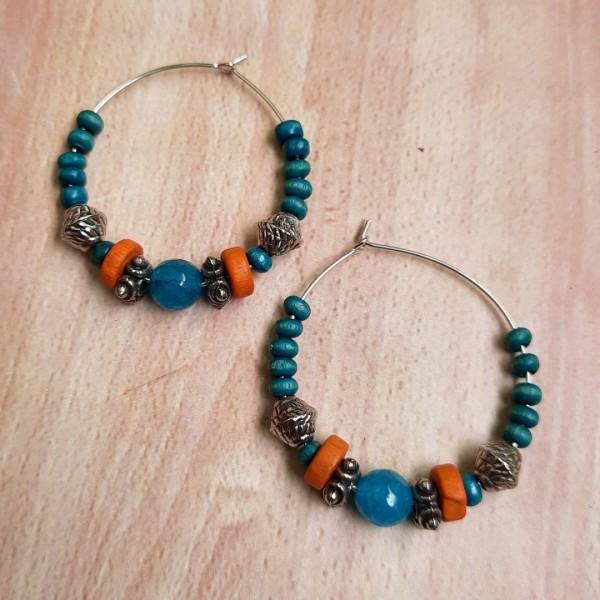 Blue Stone Hoops Earrings | Blue Stone Hoops Earrings |