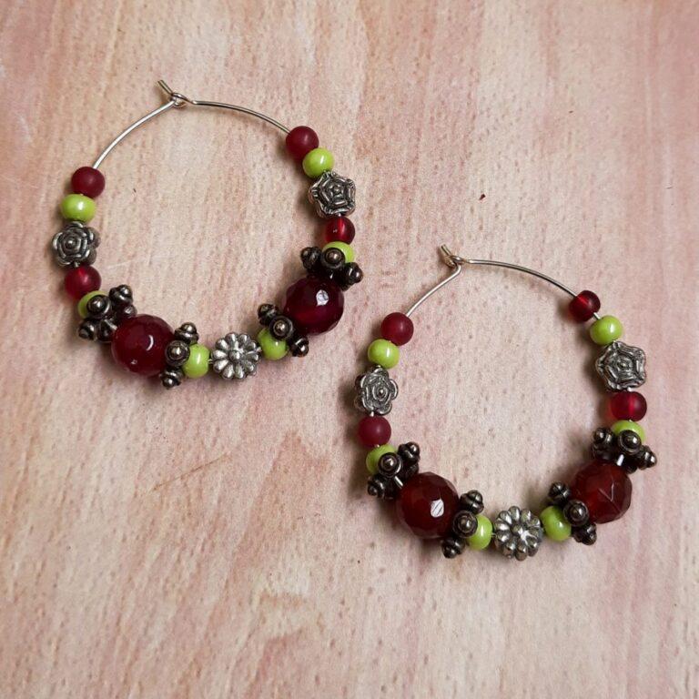 Red Beads Hoops Earrings   Red Beads Hoops Earrings  
