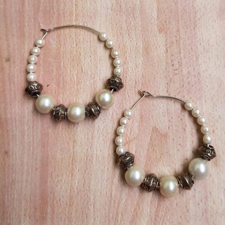 White Beads Hoops Earrings   White Beads Hoops Earrings  