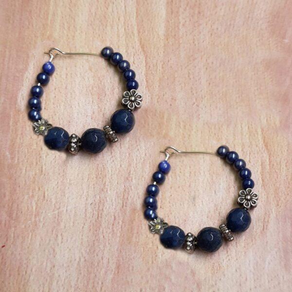 Blue Silver Hoops Earrings   Blue Silver Hoops Earrings  