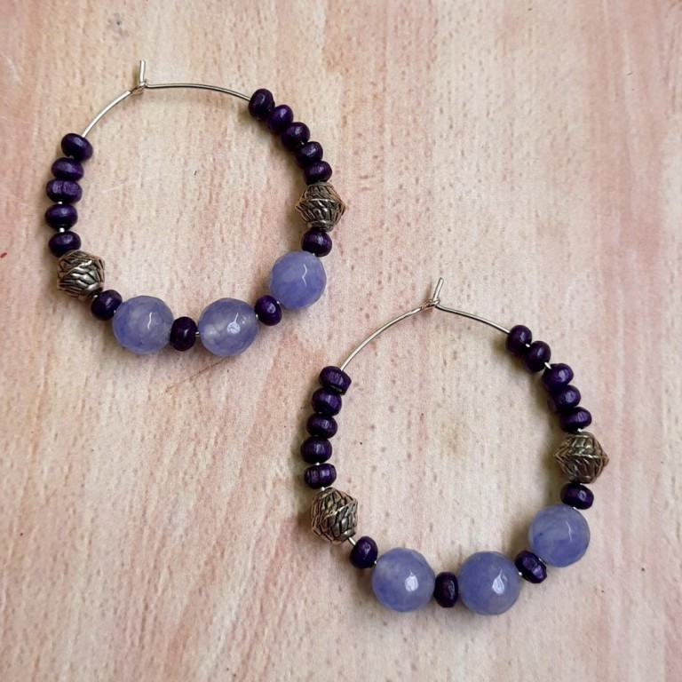 Violet With Black Hoops Earrings | Violet With Black Hoops Earrings |