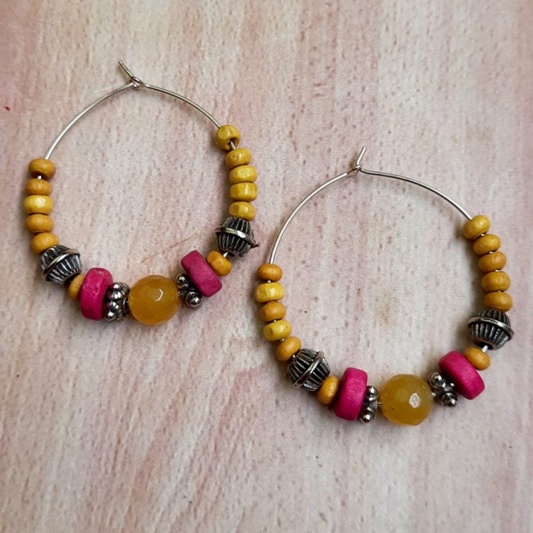 Yellow With Pink Hoops Earrings | Yellow With Pink Hoops Earrings |