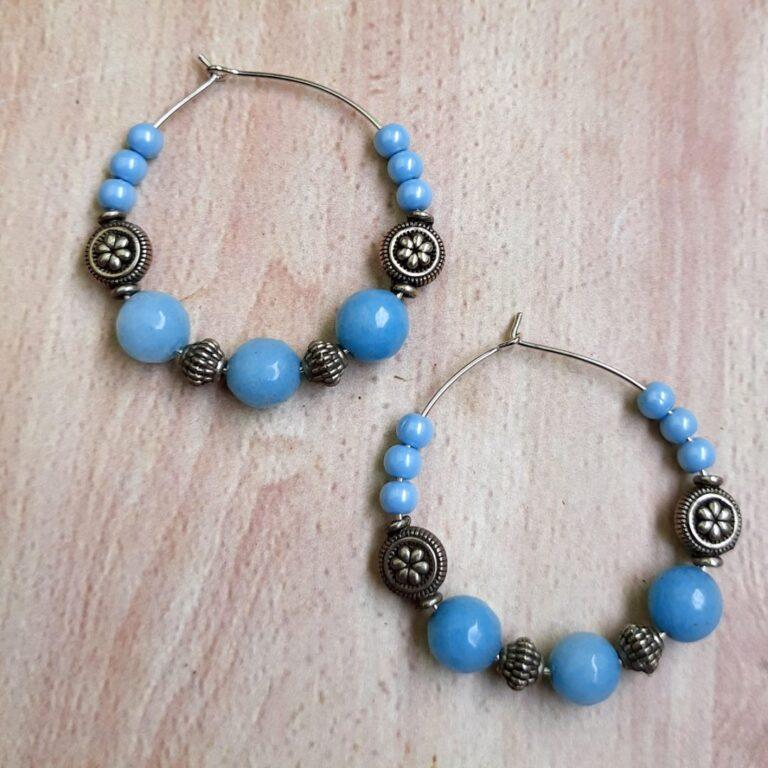 Sky Blue Hoops Earrings   Sky Blue Hoops Earrings  